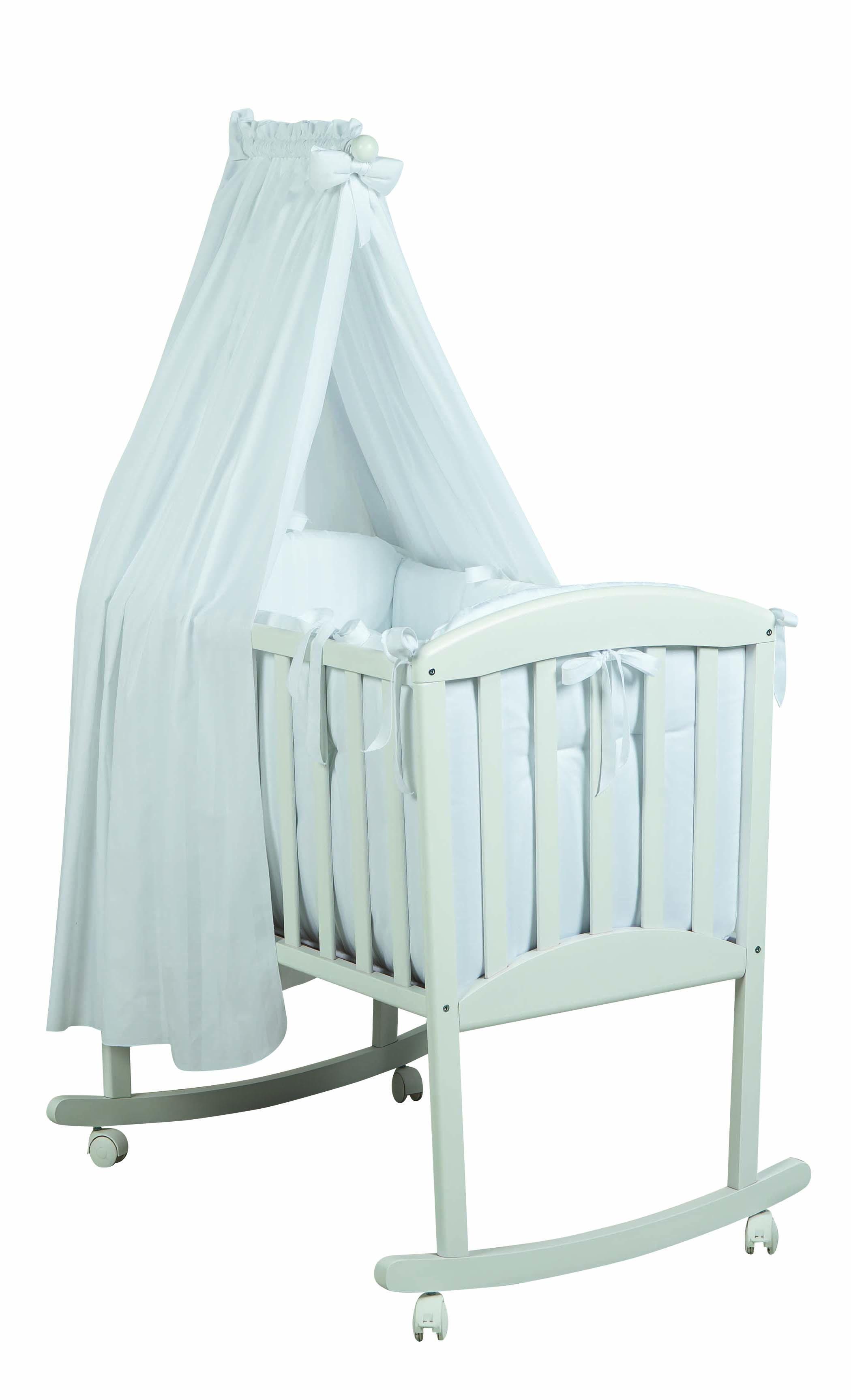 Patut mic alb complet cu textile albe