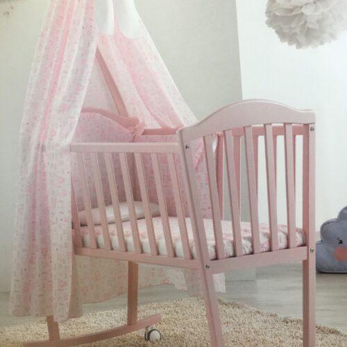 Patut mic Web roz complet cu textile si baldachin