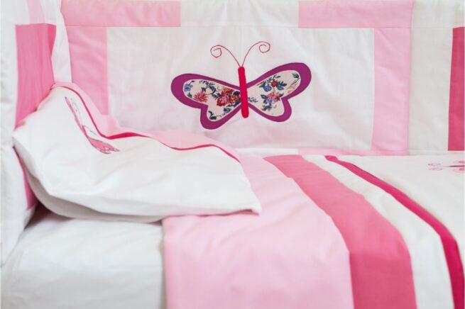 Aparatoare laterala patut Fluturas roz brodat