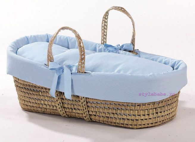 Cos bebe cu textile bleu si manere transport