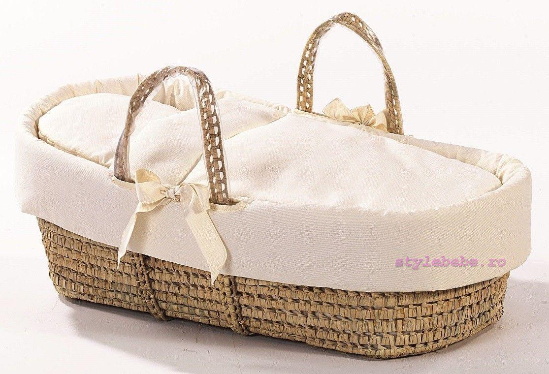 Cos bebe cu textile crem si manere transport