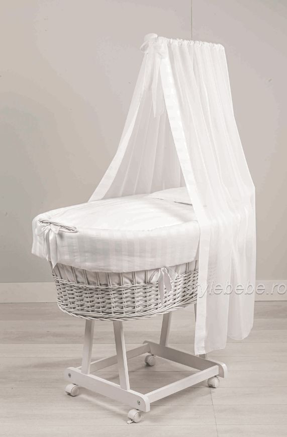 Patut oval Miss alb complet - textile, saltea, baldachin si paturica