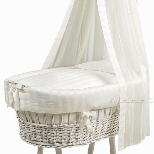 Patut oval Miss ivory complet - textile, saltea, baldachin si paturica