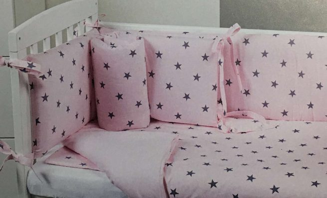 Lenjerie Stella roz pentru patut Lella