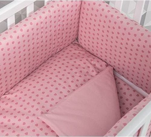 Lenjerie inimioare roz patut Lella 6 piese